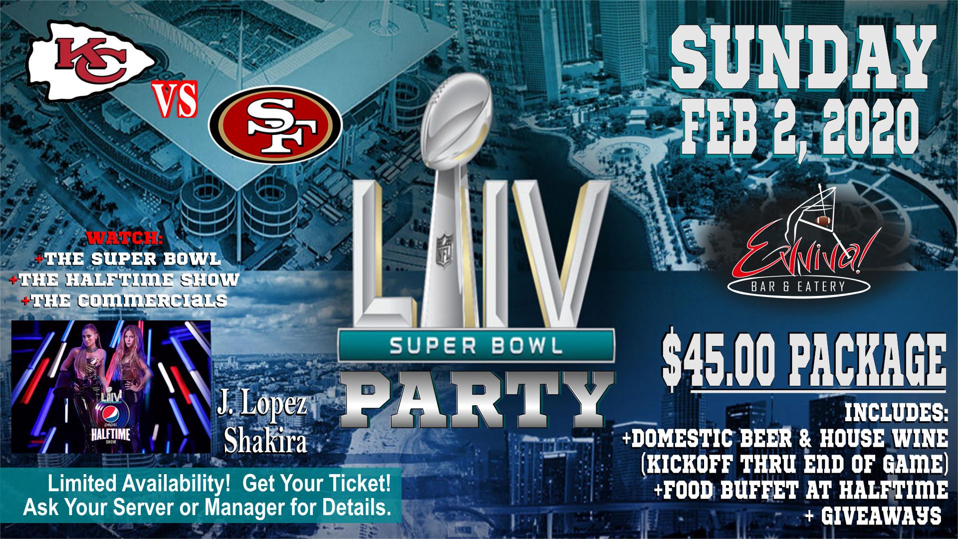Evviva! Bar & Eatery Super Bowl LIV (54) Party @ Evviva! Bar & Eatery