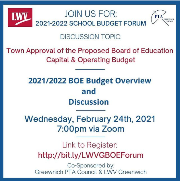 LWV Greenwich and PTAC School Budget Forum