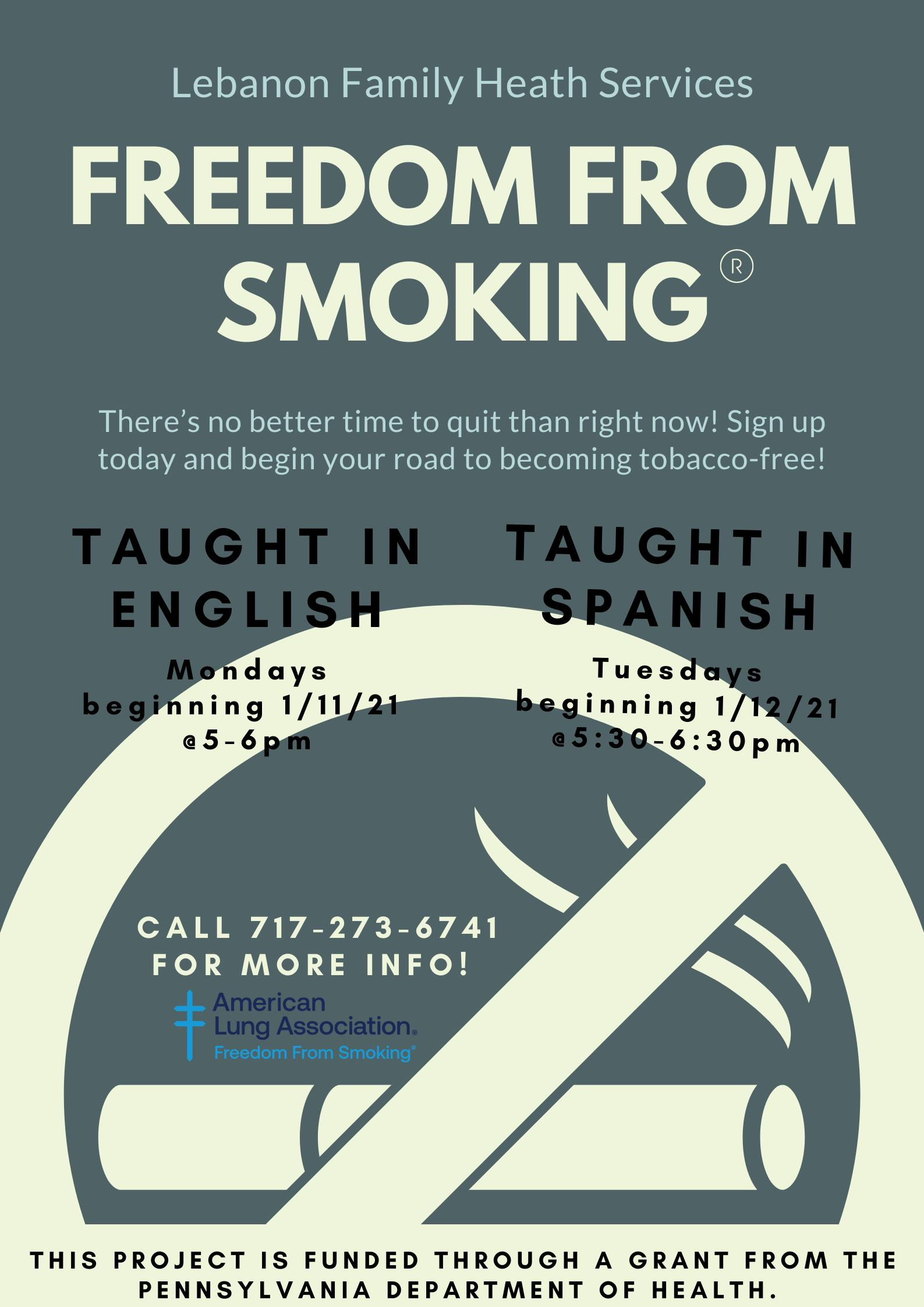 Freedom From Smoking Class (in English) @ Lebanon Family Health Services