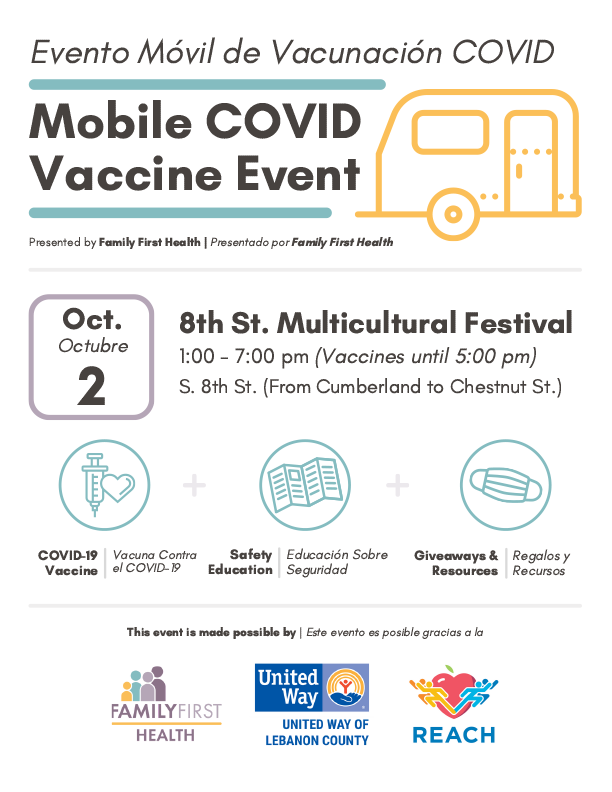 Mobile COVID Vaccine Event @ the Multicultural Festival @ 8th and Cumberland Streets