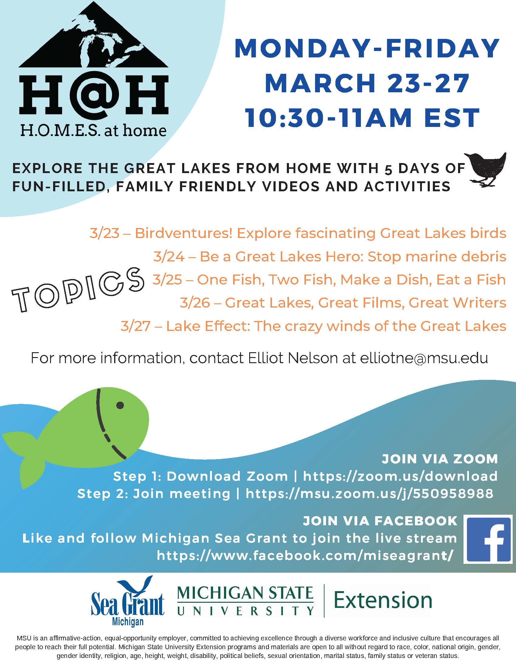 Michigan Sea Grant H.O.M.E.S. at Home Digital Series: Birdventures! Explore fascinating Great Lakes birds @ Online