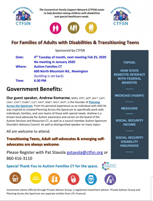 CTFSN's For Families of Adults with Disabilities & Transitioning Teens: Government Benefits