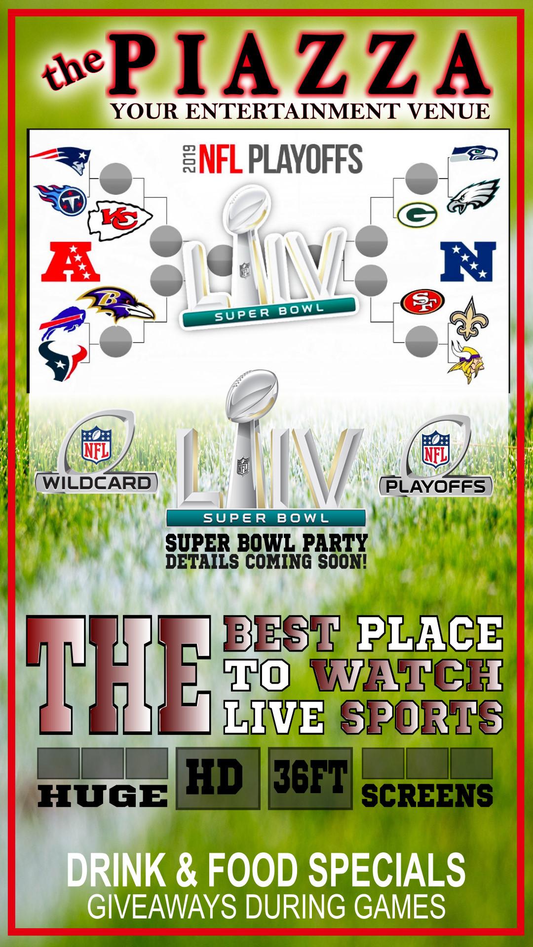 NFL - Divisional Round Saturday @ the PIAZZA - Aurora
