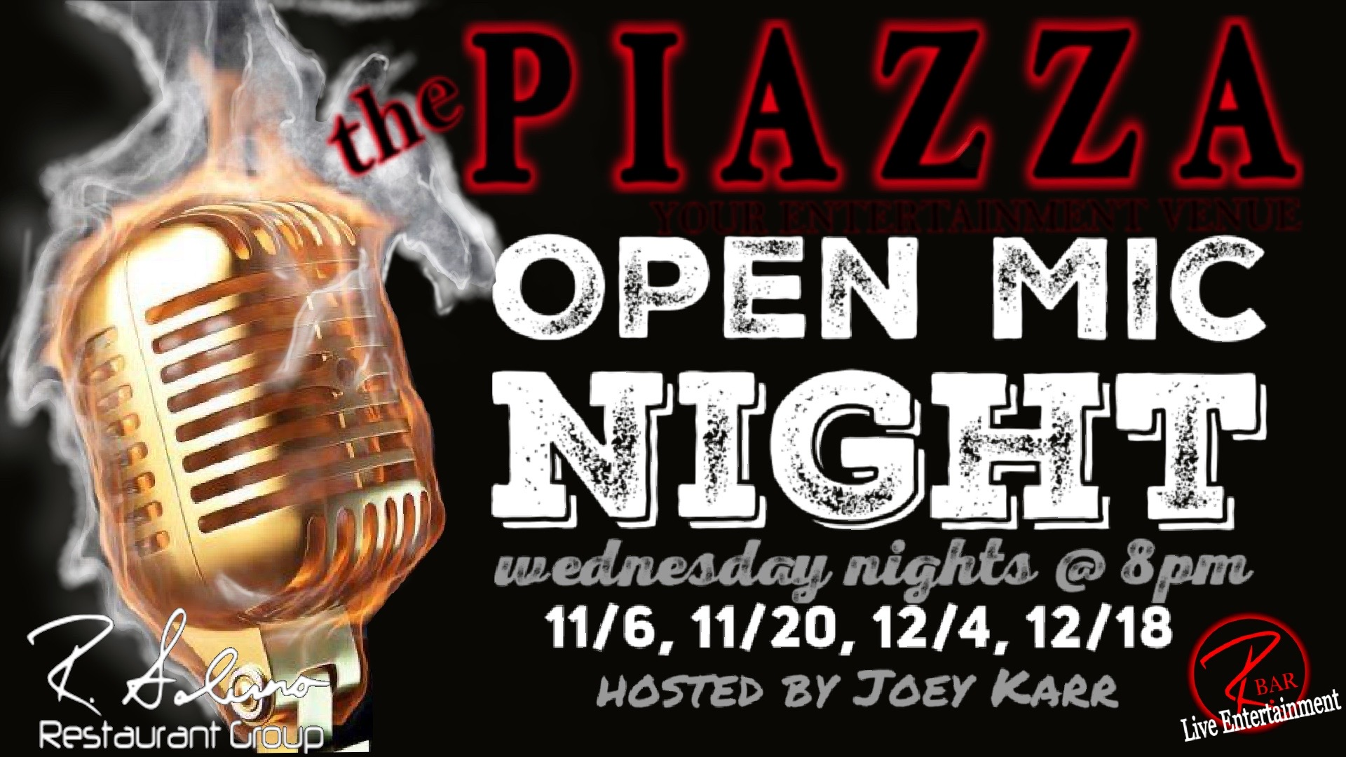 Open Mic Nights at the Piazza Aurora with Joey Karr @ the PIAZZA - Aurora