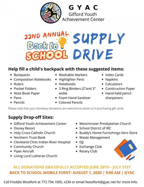 GYAC 22nd Annual Back to School Supply Drive