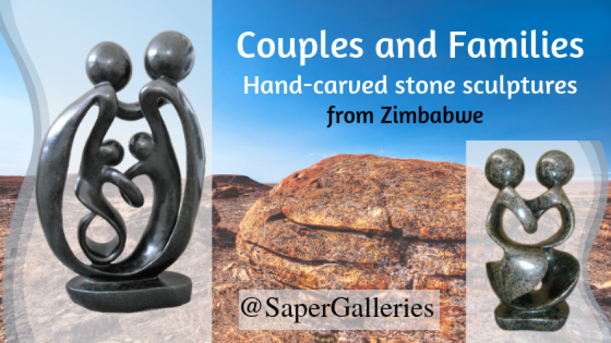 Couples and Families - Hand-carved stone sculptures from Zimbabwe