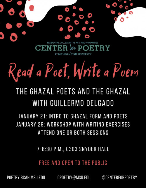 Read a Poet/Write a Poem: The Ghazal Poets and the Ghazal w/ Guillermo Delgado