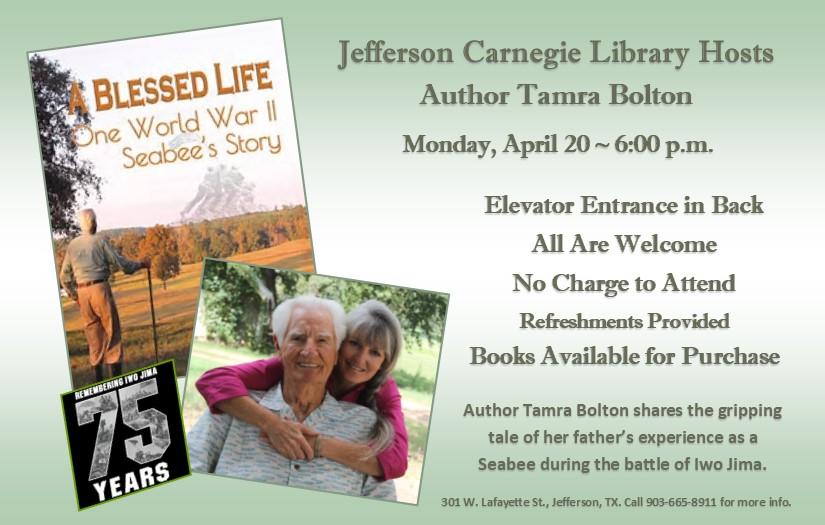 Author Tamera Bolton - Carnegie Library