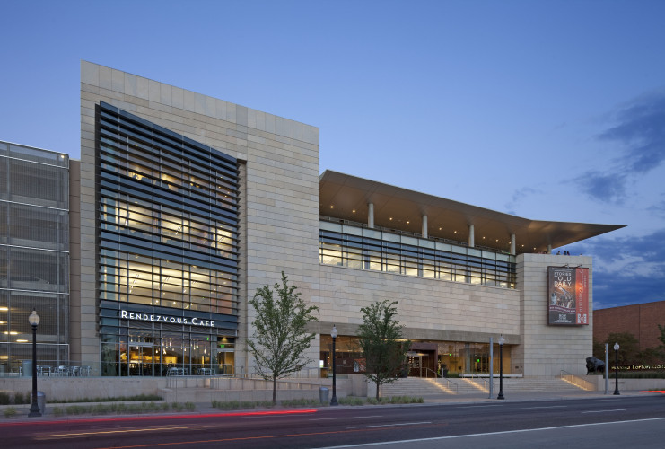 Outdoor view of the History Colorado Center at twilight