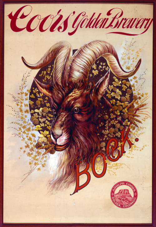 Poster of Coors Golden Brewery with image of a big horn sheep among a ring of hops