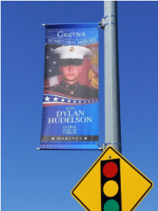 Gretna Home Town Hero Banner Reveal Ceremony